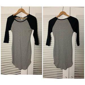SM Bozzolo Grey thermal 3/4 jersey knit dress